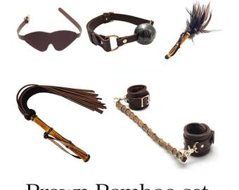 Brown Cow Leather Ankle cuffs with bamboo spreader bar, Blindfold, Gag, Bamboo Handle Flogger, tickler,BDSM sets, BDSM, Sex toys (mature)