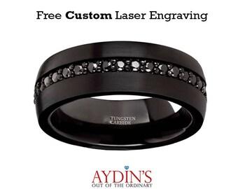 Black Sapphires Wedding Ring - Black Tungsten Ring - Sapphire Tungsten - Domed - Multiple Black Sapphires - Tungsten Wedding Band - 8mm