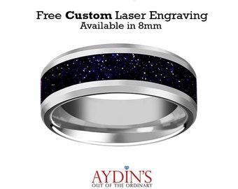 Tungsten Purple Goldstone Inlay Tungsten Wedding Band Beveled Polished Finish 8mm Tungsten Wedding Ring