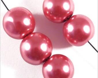 20 10mm Rose pink Czech glass pearls