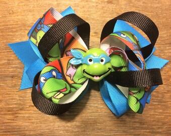 Blue Teenage Mutant Ninja Turtle Hair Bow