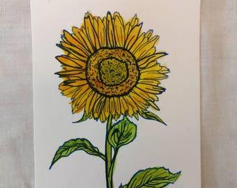 Original watercolor painting 4x6 sunflower