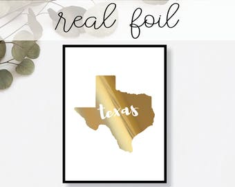 Texas State Print // Real Gold Foil // Minimal // Gold Foil Print // Decor // Modern Office Print // Typography // Fashion Print