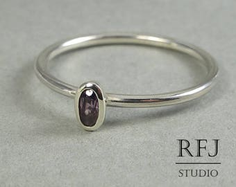 Oval June Birthstone Synthetic Alexandrite Silver Ring, Stacking Minimalistic Sterling Silver Alexandrite Ring, Oval Cut Alexandrite Ring