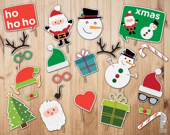 Christmas Photo Booth Props - Props Instant Download, Digital File , Photo booth, Christmas Party, printable christmas props,christmas props
