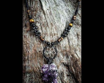 Necklace- Amethyst crystal, seed of life pendant