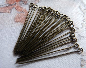 "Eye Pins, 1.57"" Antique Brass Eye Pins, 40mm Head Pins, Beading Supplies, Bead Connectors"