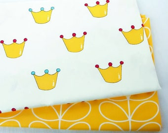 Fun and funky children's bright prince/ princess crown design / yellow swirl design, 100% Cotton Fabric per fat quarter / per Half Meter