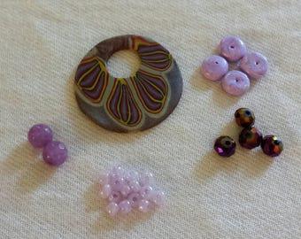 Bead Kit, Jewelry Kit, Craft Kit, Polymer Clay, Purple, Flower