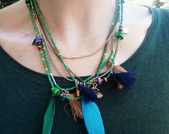 Tassel Necklace women jewelry Collar Pompom Feather pendant Green Blue multicolor Ethnic style Boho Multi layer