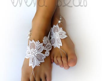 Bridal Barefoot Sandals. Lace Foot Jewelry. White Pearl Beads. Silver Chain Boho Anklets. Soleless Beach Wedding Barefoot Sandals. 2 pieces.