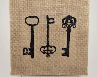 Skeleton Key Holder/Burlap Wall Art/Shabby Chic Key Holder/Hand Painted/Canvas Key Holder/Burlap/Wedding Gift/Anniversary Gift/House Warming