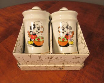 Vintage Mickey Mouse ceramic salt and pepper shakers, Disney *