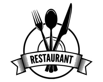 Restaurant Logo #2 Silverware Utensils Plate Grill Grilling Barbecue Butcher Cooking Cook Chef Food BBQ .SVG .EPS Vector Cricut Cut Cutting