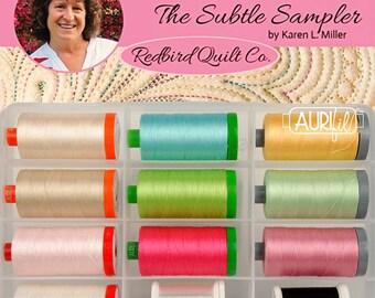Subtle Sampler Collection - KM5WSS12 Aurifil - thread collection - Karen Miller - RedBird Quilt Company