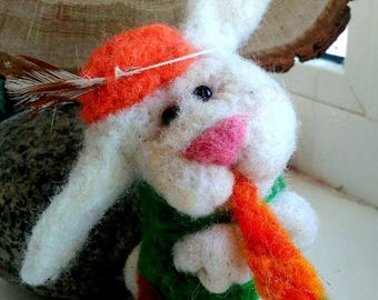 Bunny with carrot.100% wool