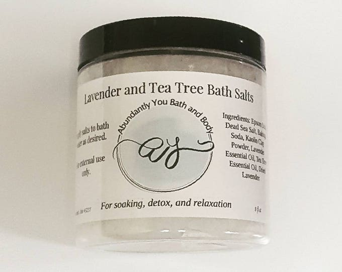 Nourishing Natural Bath Salts with Lavender and Tea Tree Detox | Vegan | Cruelty Free | Pamper Gift