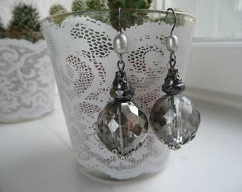 Earrings/Earrings/Boho/Baroque/oppulent/Silver/anthracite/glass beads/Bohemian glass beads/gift for you