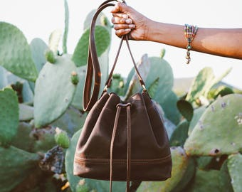 Leather Bucket Bag, bucket bag, brown leather bucket bag,leather shoulder bag, leather bucket purse, crossbody bag, drawstring bag.