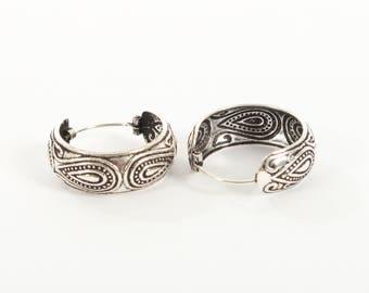 Sterling Silver Patterned Bali Earrings