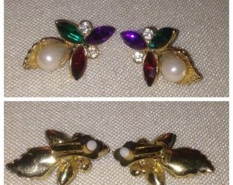 On Sale Vintage 80's Rhinestone Earrings