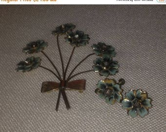 Anniversary Sale Vintage Flower Pin and Earrings