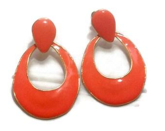 Vintage 80's Large Orange Dangle Earrings