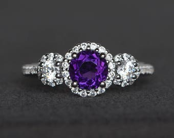 promise ring round cut natural amethyst ring purple gemstone sterling silver ring February birthstone