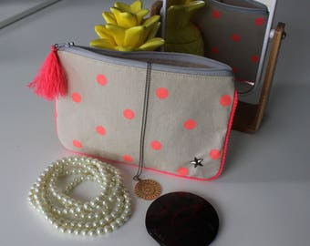 Neon pink dot pouch
