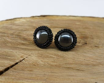 Black stud earrings Everyday earrings for her Hematite stone earrings Gothic style jewelry Seed beads earrings Jewelry gift for girlfriend