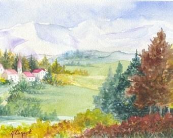 imaginary landscape - original watercolor painting