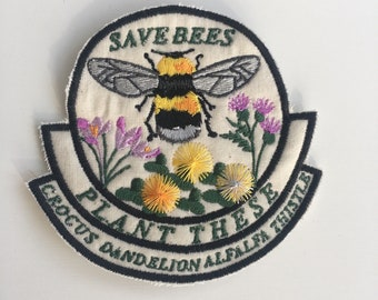Save the Bees Iron on Patch
