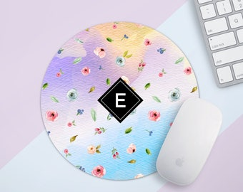 Gift for Mom  Personalized Mouse Pad Mousepad Cute Mouse Pad Monogram Mousepad Office Desk Accessories Floral Mouse Pad Round Mouse Pad