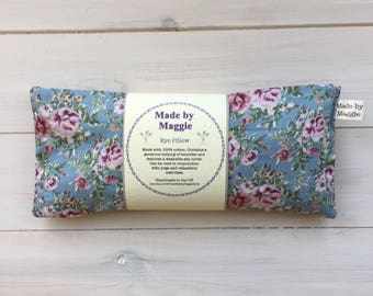 Eye Pillow with Removable Cover, Mindfulness Lavender Eye Bag, Yoga Eye Pillow with pretty dusky roses on a blue background cover, washable