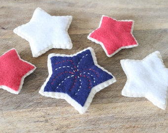 Sugar Cookies - Felt Star Cookies - 4th of July Cookies - Felt Cookies - Play Food - Pretend Food - Felt Food-Felt Sugar Cookies-4th of July