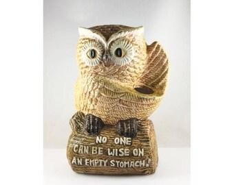 July 4th Sale Owl Kitchen Utensil Holder Owl Kitchen Decor 1970s Kitchen Decor