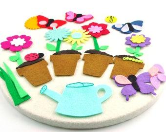 Handmade Felt Board Flower Set, Felt Garden Flannel Board Story, Pretend Play Educational Quiet Activities, Felt Flower Toy Preschool Gift