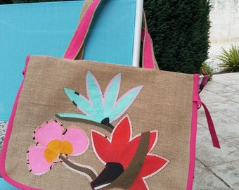 Collection 667 jute tote bag, application of 3 flowers on beige burlap on the front 44 x 32 x 15 cm