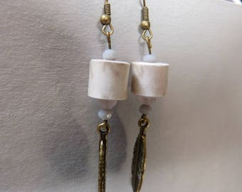 Paper beads & feather earrings