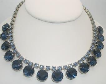 Vintage Blue Large Rhinestone Choker-Length Necklace