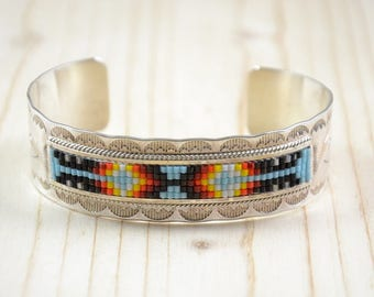 9/25 th mixed authentic Navajo silver bracelet adorned with multicolored beads