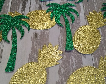 Pineapples With Palm Trees Confetti - Tropical Party