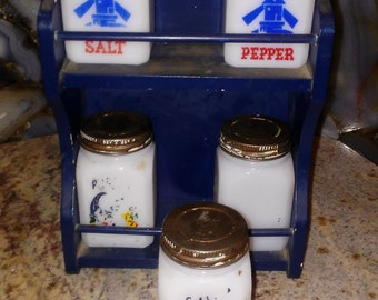 vintage milk glass salt and pepper shakers with wall hanger caddy