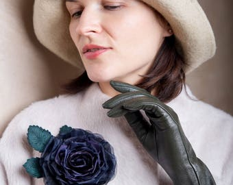 Brooch black flower of rose, black flower brooch, black silk flower, vintage rose brooch, black fabric rose, black flower corsage brooch,