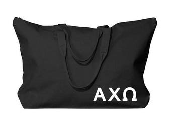 Alpha Chi Omega Overnight & Carry-All Tote Bag (Optional Personalization)