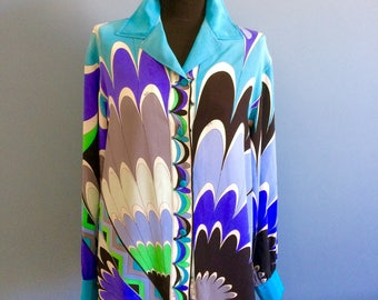 SOLD! Emilio Pucci blue silk shirt vintage 1970 - 70s