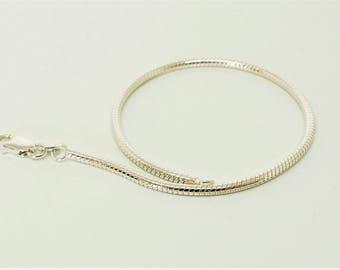 "7"" Snake Chain Bracelet, 925 Sterling Silver Chain, European Style Chain, Caprice Chain, Interchangeable Charms, Bracelet Findings, Diy"