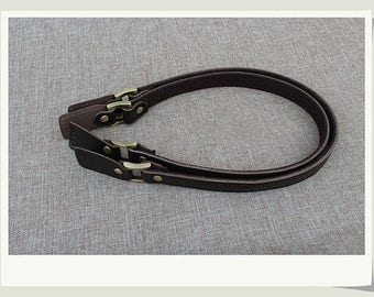 1 Pair Dark Coffee Genuine Leahter Purse Strap, Shoulder Bag Handle, New Long Ear Shaped Tail Hand Straps, Webbing Handles Tote Bag Supply