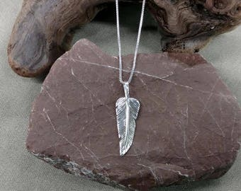 Hand Fabricated Sterling Silver Feather pendant