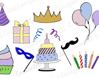 Birthday bundle SVG, crown cutting file, balloons cutting files, cupcake plotter files, candles svg, party hat, present, streamers, mustache